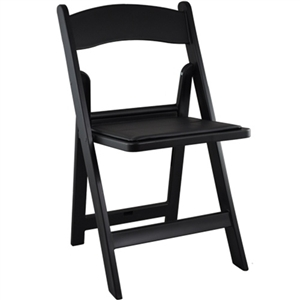 Black Resin or Wooden Padded Folding Chair